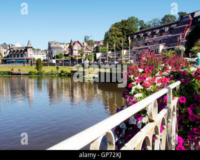 The lake and part of the Casino Gardens in late summer in the old spa resort of Bagnoles de L'orne in Normandy, - Stock Photo