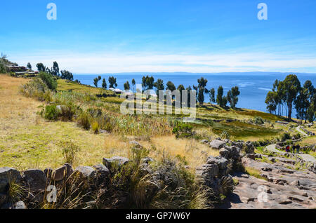 Hilly village on Taquile island in Titicaca Lake, Puno, Peru - Stock Photo