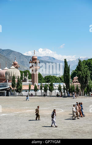 Shahi Masjid Chitral, built in 1924 by Shujah ul Mulk , then the Mehta of Chitral and Chitral football ground in - Stock Photo