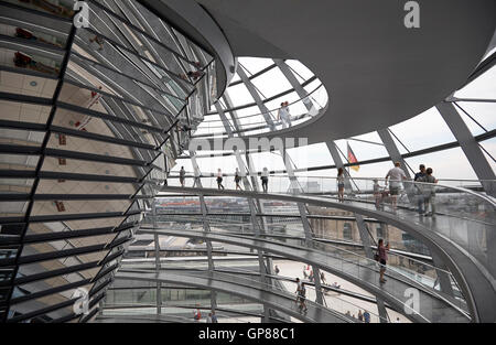 Inside view of the Reichstag dome in Berlin reflective glass looking across the building - Stock Photo