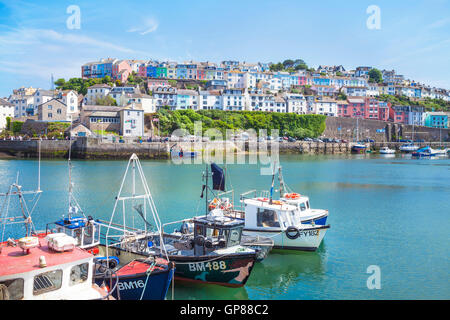Fishing boats in Brixham Harbour Brixham Devon England UK GB EU Europe - Stock Photo