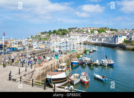 Fishing boats on Brixham Quay Brixham Harbour Brixham Devon England UK GB EU Europe - Stock Photo
