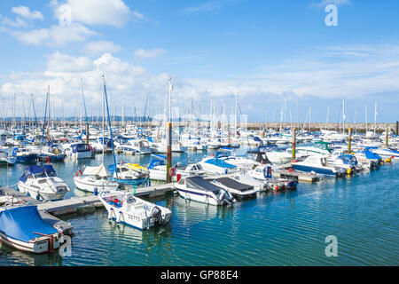 Yachts and pleasure boats in Brixham marina Brixham Devon England UK GB EU Europe - Stock Photo
