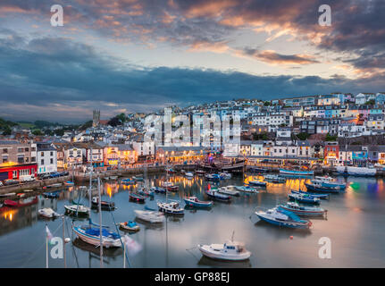 Brixham Harbour at sunset Brixham Devon England UK GB Europe - Stock Photo