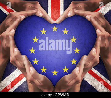 Human hands make heart shape with patterned flag of the European Community inside and the flag of the United Kingdom - Stock Photo