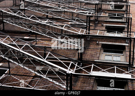 Escape Ladder on a building in Quebec town, Canada - Stock Photo