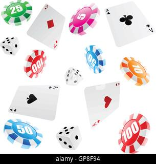 playing cards, roulette chips and dices seamless pattern - Stock Photo