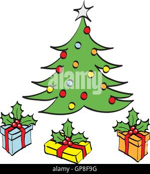 Christmas Tree and gifts cartoon - Stock Photo