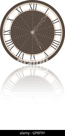 vector illustration of a clock and it's reflection - Stock Photo