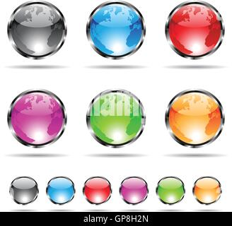 glossy and colorful globe icons with metallic frames - Stock Photo