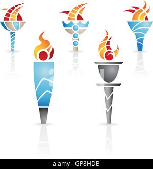 torches with fire and reflections - Stock Photo