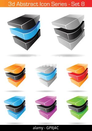 Vector EPS illustration of 3d Abstract Icon Series - Set 8 - Stock Photo