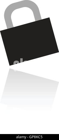Black locked padlock isolated on white - Stock Photo