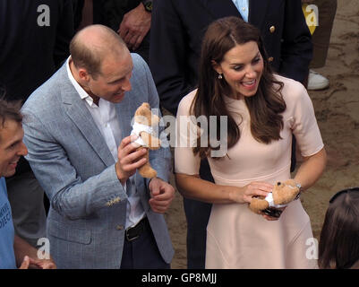 Duchess of Cambridge and duke of Cambridge Cornwall UK - Stock Photo