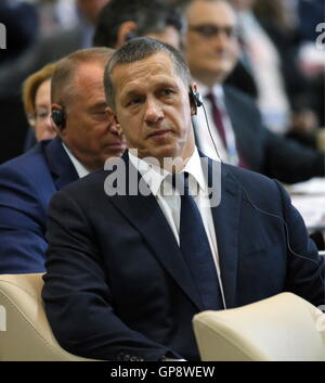 VLADIVOSTOK, RUSSIA - SEPTEMBER 3, 2016: Yuri Trutnev, Russia's Deputy Prime Minister and Presidential Envoy to - Stock Photo