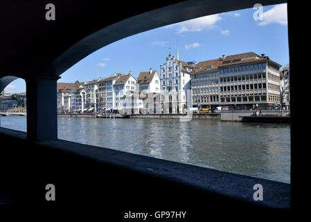 Limmat River seen from the Schipfe, Zurich, Switzerland - Stock Photo
