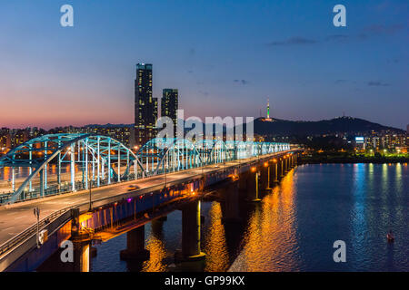 Seoul at night, South Korea city skyline at Dongjak Bridge Han river in Seoul , South Korea. - Stock Photo