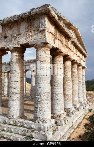 The Doric Temple, Segesta Archaeological Site, Segesta, Province of Trapani, Sicily, Italy - Stock Photo