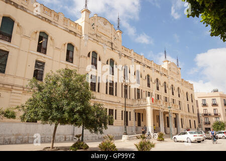 The Old Post Office, Piazza Vittorio Veneto, Trapani, Sicily, Italy - Stock Photo