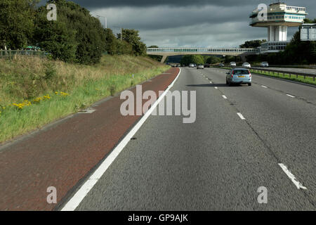 clear view of inside lane on m6 motorway passing lancaster services,lancashire,england,united kingdom,europe - Stock Photo