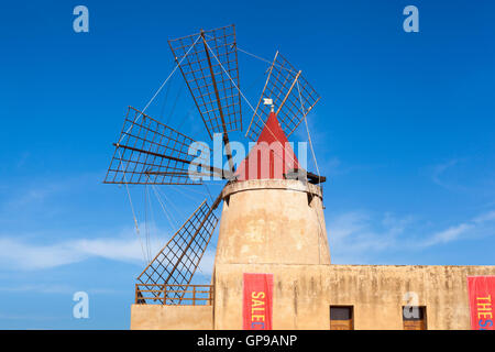 Salt Museum windmill at Stagnone salt pans, Stagnone, near Marsala and Trapani, Sicily, Italy - Stock Photo