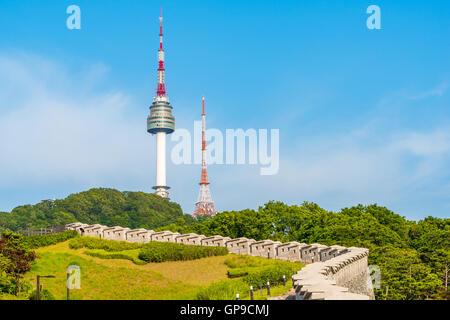 Korea,Namsan Tower in Seoul,South Korea. - Stock Photo