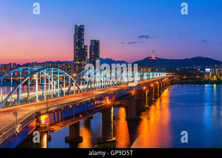 Korea,Seoul at night, South Korea city skyline at Dongjak Bridge Han river in Seoul , South Korea. - Stock Photo