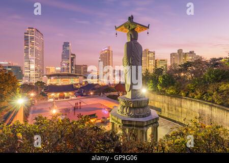 Bongeunsa temple of downtown skyline in Seoul City, South Korea. - Stock Photo