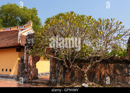 War-damaged archway, approach to Cung Dien Tho Palace, Imperial City, Hue, Viet Nam - Stock Photo
