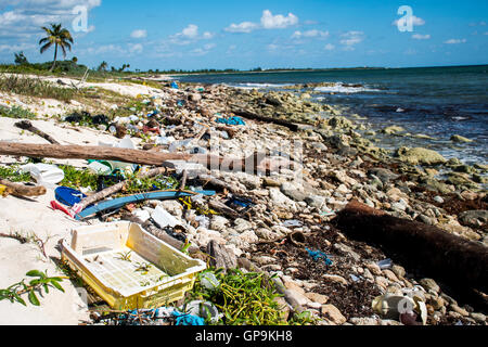 Mexico Coastline Pollution Problem with plastic - Stock Photo