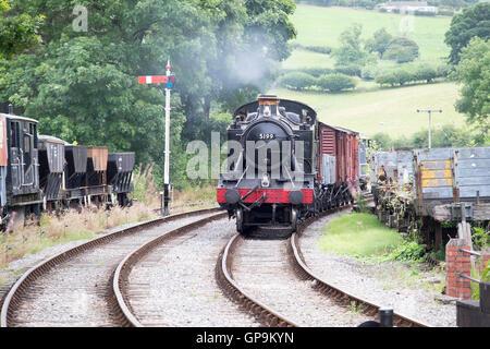Black Steam Train on the Llangollen Railway - Stock Photo