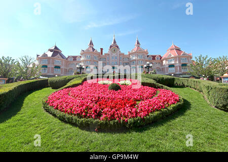 Marne-La-Vallee, France. June 26th, 2011. Disneyland Hotel and Entrance to Disneyland Paris with flowers in the - Stock Photo