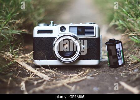 Rangefinder camera with film - Stock Photo
