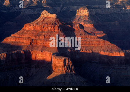 USA, Arizona, Grand Canyon National Park, South Rim, Sandstone buttes below Hopi Point redden at sunset. - Stock Photo