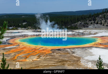 Famous trail of Grand Prismatic Springs in Yellowstone National Park from high angle view. Beautiful  hot springs - Stock Photo