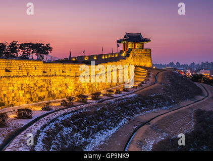 Korea,Sunset at Hwaseong Fortress in Suwon, South Korea. - Stock Photo