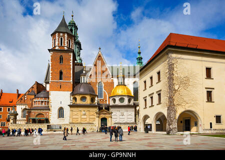Cathedral and Wowel castle in city of Krakow, Poland. - Stock Photo