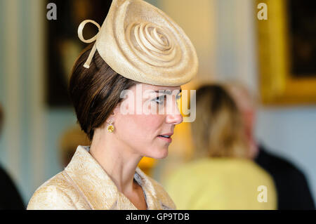 HILLSBOROUGH, NORTHERN IRELAND. 14 JUN 2016: Catherine (Kate), The Duchess of Cambridge, chats to guests - Stock Photo
