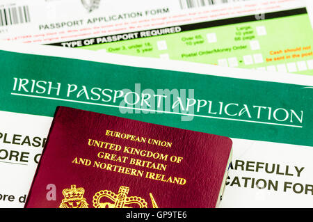 People born in Northern Ireland are entitled to dual citizenship of both Republic of Ireland (Eire), and United - Stock Photo