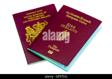Passports for both the Republic of Ireland (Eire), and United Kingdom (UK) - Stock Photo