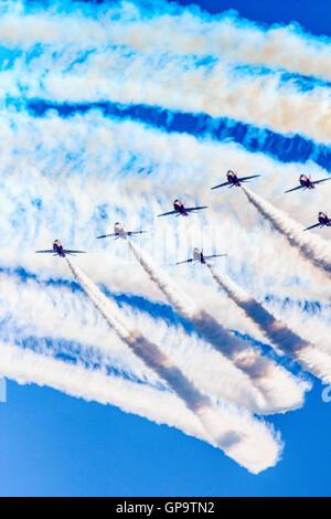 Red Arrows RAF Aerobatics Display Team at Eastbourne International Airshow Airbourne 2016 - Stock Photo