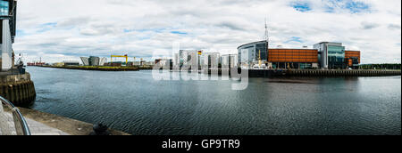 Titanic Belfast, Harland and Wolff cranes, Titanic Studios and the SSE Arena viewed across the River Lagan, Belfast. - Stock Photo
