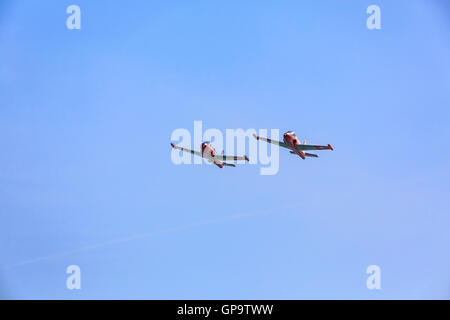 Jet Provost Display Team in action at Eastbourne Airshow Airbourne 2016 - Stock Photo