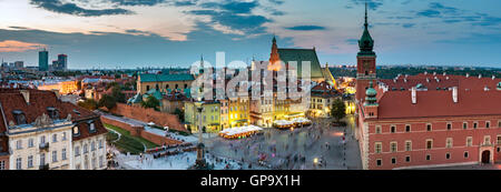 Night Panorama of Royal Castle in Warsaw - Stock Photo