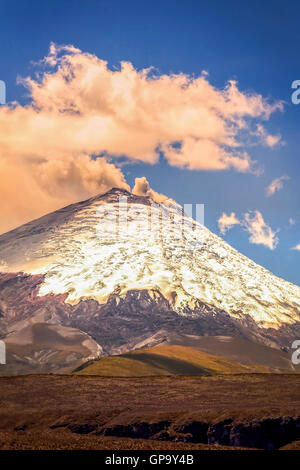 Amazing View With Gas Eruption Of Cotopaxi Volcano, Ecuador, South America - Stock Photo