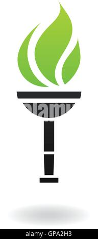 Ancient green and black torch isolated on white - Stock Photo
