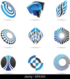 Various blue abstract icons isolated on a white background - Stock Photo