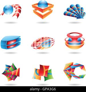 3D abstract icons in various colors - Stock Photo