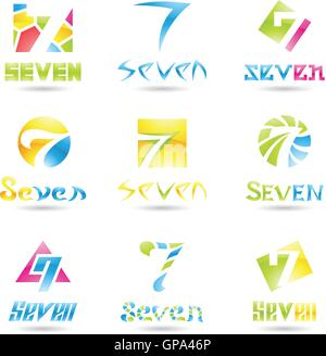 Vector illustration of Icons for number seven isolated on white background - Stock Photo