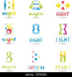 Vector illustration of Icons for number eight isolated on white background - Stock Photo